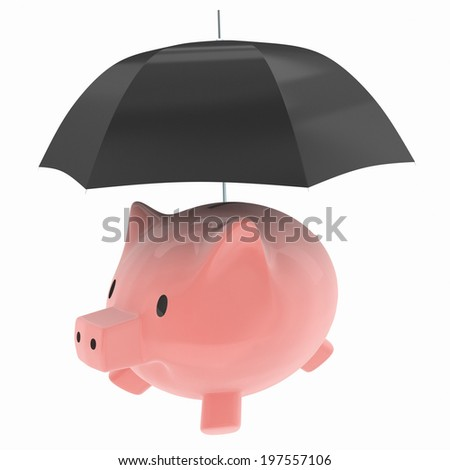 Pink piggy bank under umbrella