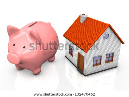 Pink piggy bank with a house on teh white background.