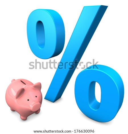Pink piggy bank with big percentage on the white background. - stock photo