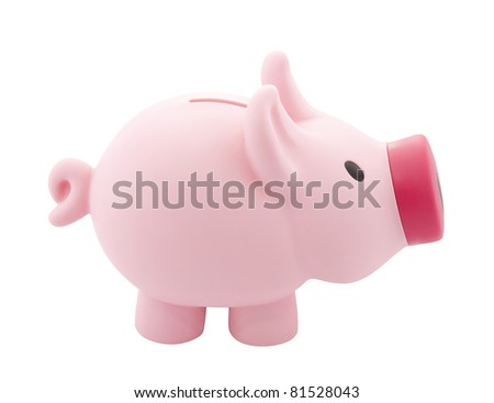 Pink piggy bank with clipping path - stock photo