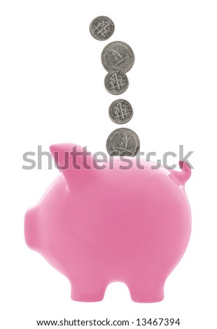 Pink piggy bank with dimes and quarters falling into it.  Isolated on white.