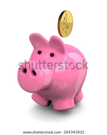 Pink Piggy Bank with Dollar Coin Illustration