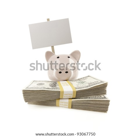 Pink Piggy Bank with Stacks of Hundreds of Dollars and Blank Sign Isolated on a White Background. - stock photo