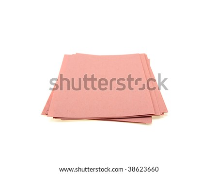 Pink pile of office paper isolated on a white background - stock photo