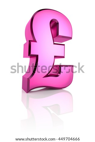 Pink pound currency symbol isolated on white background. 3d rendering - stock photo