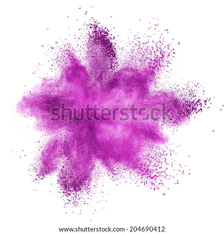 Pink powder explosion isolated on white background - stock photo