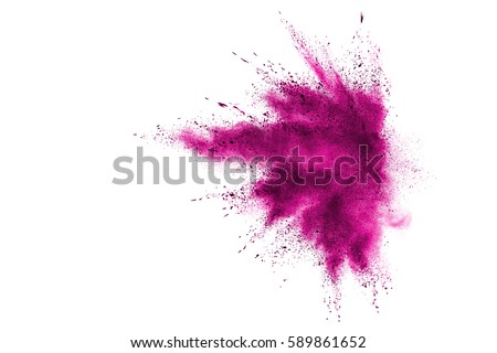 Pink powder explosion on white background. Paint Holi.