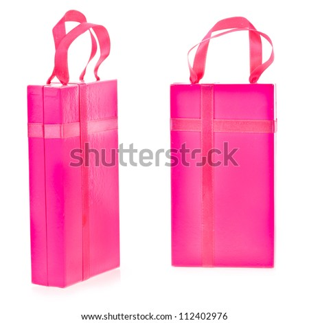 pink present box  isolated on white  background - stock photo