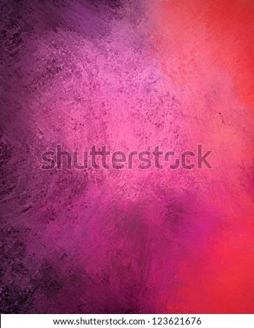 pink purple background color splash on black, rough distressed vintage grunge background texture abstract design, bright middle for text, website template background, old messy retro wall style paint - stock photo