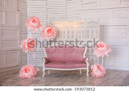 Pink Purple Sofa Stands Interior Light Stock Photo (Royalty Free ...