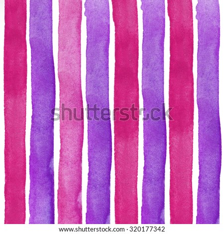 Pink purple Watercolor hand painted brush strokes, striped background - stock photo