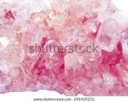 pink quartz semigem geode crystals geological mineral isolated  - stock photo