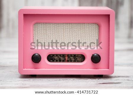 pink radio retro look on white stock photo 414731722 shutterstock. Black Bedroom Furniture Sets. Home Design Ideas