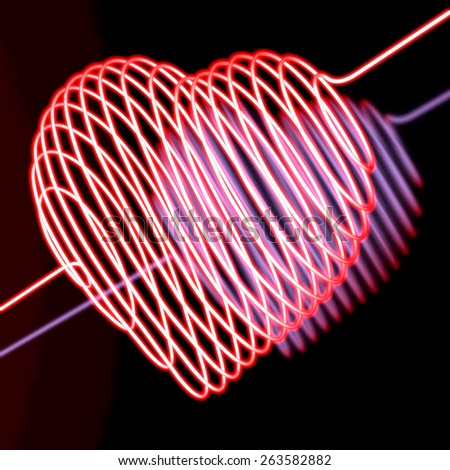 Pink, red neon heart, 3d rendering, on black, reflecting background - stock photo