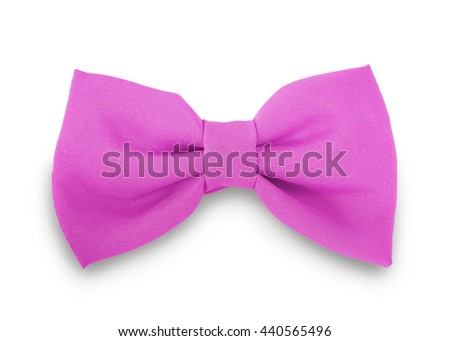 Pink ribbon knot isolated on white background. This has clipping path.                             - stock photo