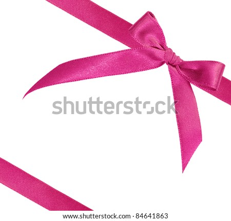 pink ribbon on white background with copy space - stock photo