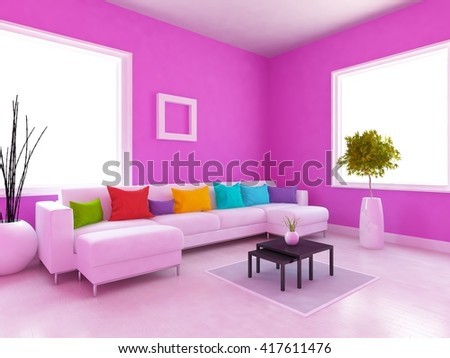 Purple Living Room Interior Sofa White Stock Illustration 600592799 ...