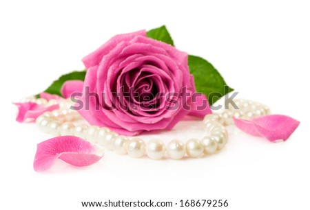 pink rose and pearl necklace isolated on white - stock photo