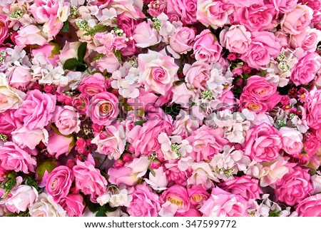 Pink rose background. Roses flower bouquet. For lover or sweetheart of Valentine's Day. Top view. Close up. - stock photo