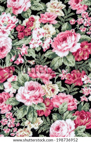 Pink rose fabric background, Fragment of colorful retro tapestry textile pattern with floral ornament useful as background - stock photo