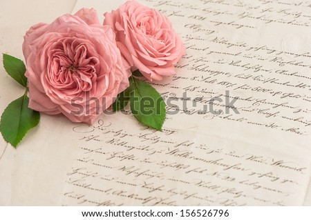 pink rose flowers over antique handwritten letter. romantic vintage background. selective focus - stock photo