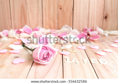 pink roses and pink hearts for valentines day, love concept - stock photo