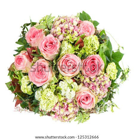 pink roses. beautiful flowers bouquet isolated on white background - stock photo