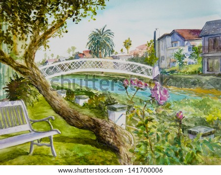 Pink roses bloom alongside a bench by a canal in Venice, CA, in a watercolor painting. - stock photo