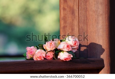 Pink roses. Delicate bouquet of roses for Valentine's Day - stock photo