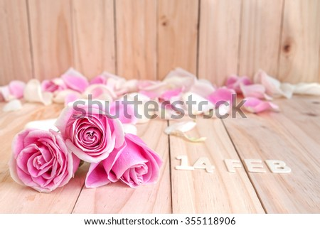 pink roses for valentine's day - stock photo