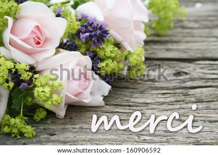 pink roses, lavender and lettering thanks/thank you/french - stock photo