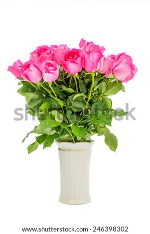 Pink roses on white background, valentines day. - stock photo