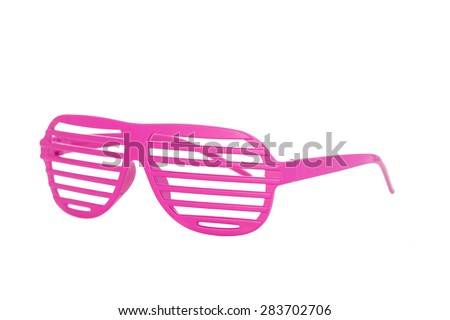 pink 80's slot glasses isolated on white background side view - stock photo