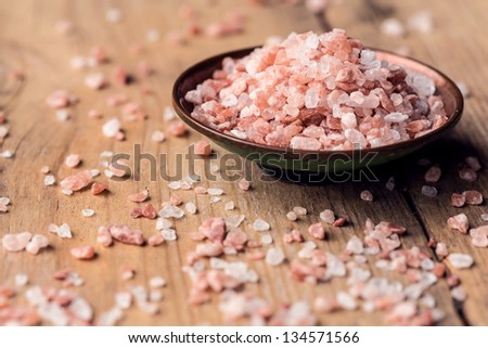 Pink salt from the Himalayas - stock photo
