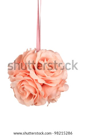 Pink Satin Rose Ball - stock photo