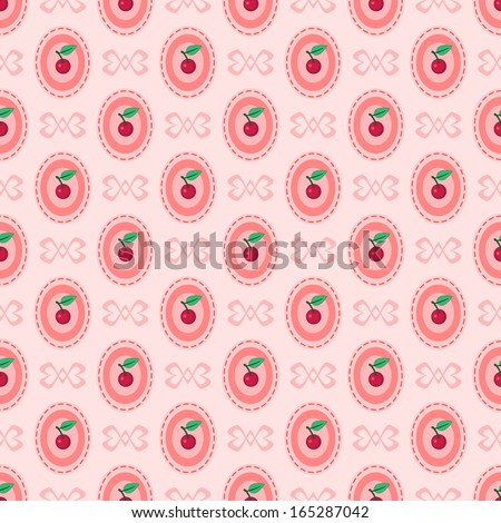 Pink seamless pattern with cherry - stock photo