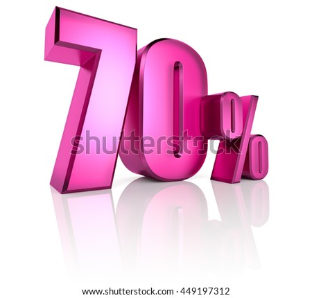 Pink seventy percent sign isolated on white background. 3d rendering - stock photo