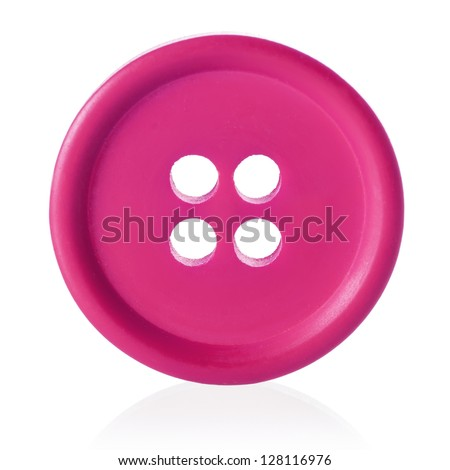 Pink sewing button isolated on white - stock photo