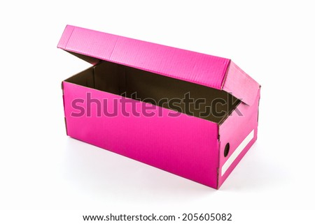 Pink shoe box on white background with clipping path. For shoes, electronic device and other products.