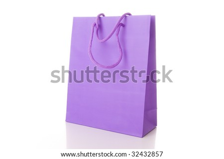 Pink shopping bag isolated on white - stock photo