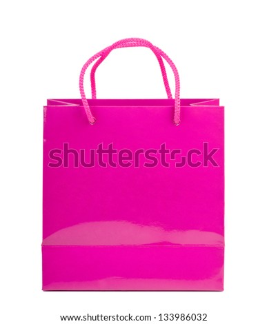 Pink shopping bag on a white background.