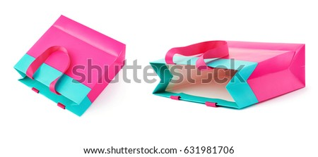 Pink shopping or gift bag isolated over the white background