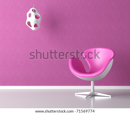 pink simple interior with chair lamp and copy space on the wall - stock photo