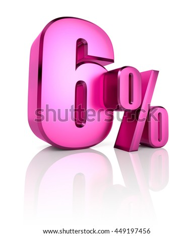 Pink six percent sign isolated on white background. 3d rendering - stock photo