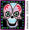 Pink skull on black bordered background - stock vector
