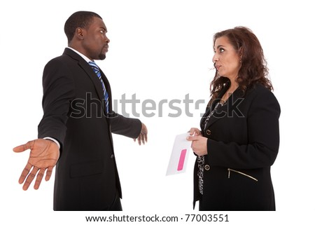 Pink Slip Layoff HR manager firing an employee - stock photo