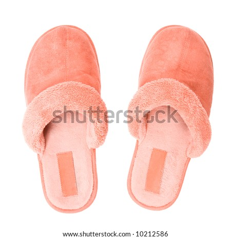 Pink slippers top view. Isolated on white. - stock photo