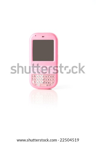 Pink smart mobile phone on a white background with smooth shadow and reflection.
