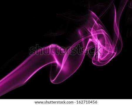 pink  smoke on black background - stock photo