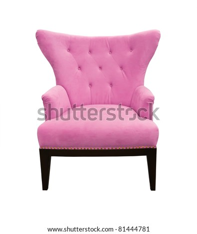 Pink sofa isolated on white background - stock photo
